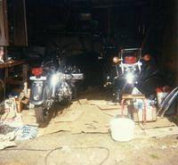 My CB500 Four and my GL1000 into my old garage [1981]